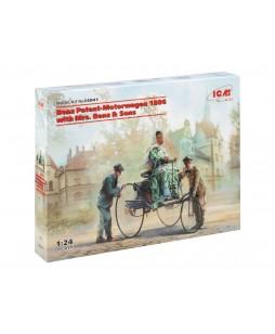 ICM modelis Benz Patent-Motorwagen 1886 with Mrs. Benz & Sons 1/24