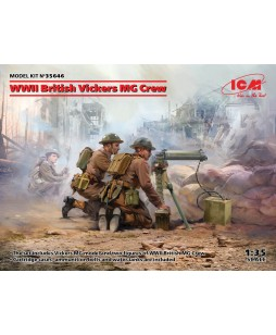 ICM modelis WWII British Vickers MG Crew (Vickers MG & 2 figures) 1/35