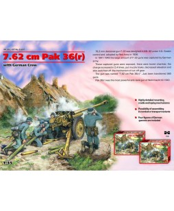 ICM modelis 7,62 cm Pak 36 r with German Crew (4 figures) 1/35