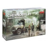 ICM modelis Chernobyl#1. Radiation Monitoring Station (ZiL-131KShM truck & 5 figures & diorama base with background) 1/35