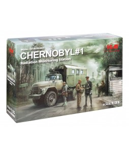 ICM modelis Chernobyl#1. Radiation Monitoring Station (ZiL-131KShM truck & 5 figures & diorama base with background) 1/35