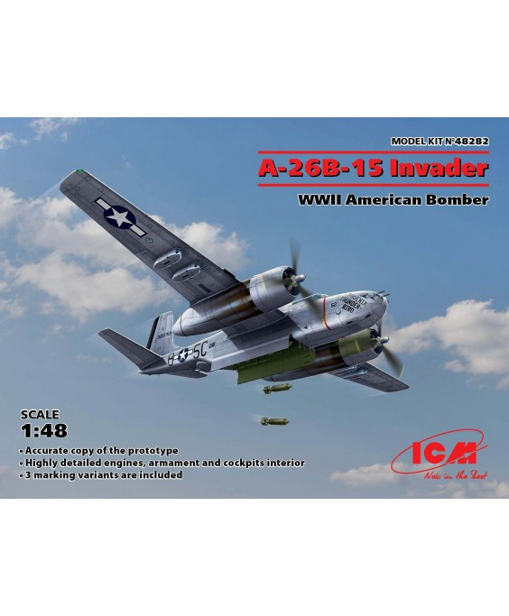 ICM modelis A-26B-15 Invader, WWII American Bomber 1/48