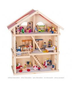 Goki lėlių trijų aukštų namas su baldais
